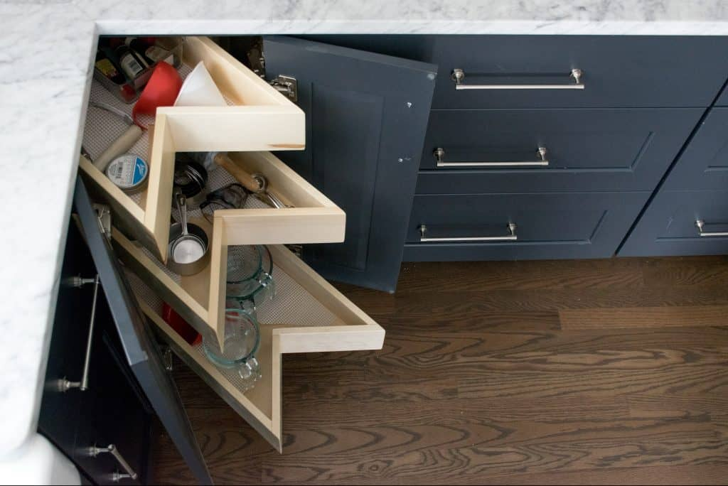 This kornerking storage cabinet is an excellent smart storage solution to maximize kitchen organization.
