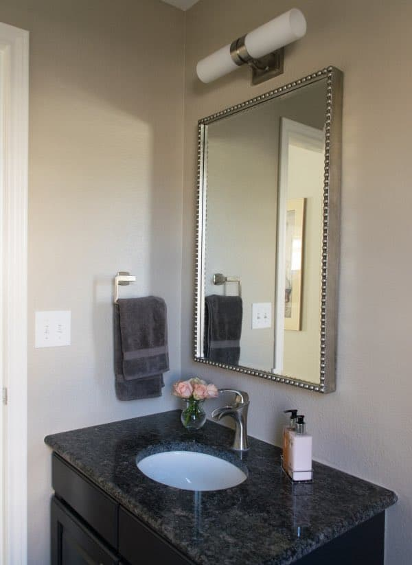 Powder room makeover with BM Stone house paint for walls and BM onyx for vanity