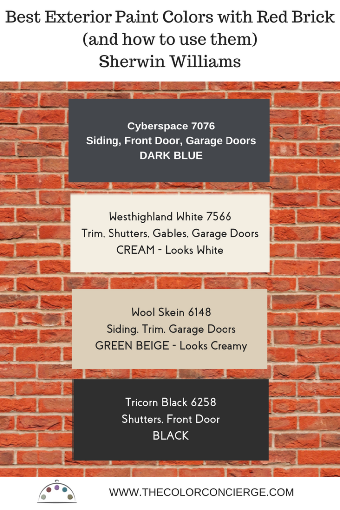 Best exterior paint colors for red brick exteriors.