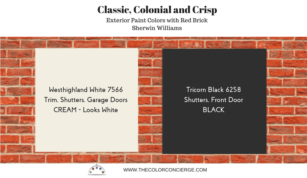 Best exterior paint colors for red brick homes, sw westhighland white 7566, sw tricorn brick 6258