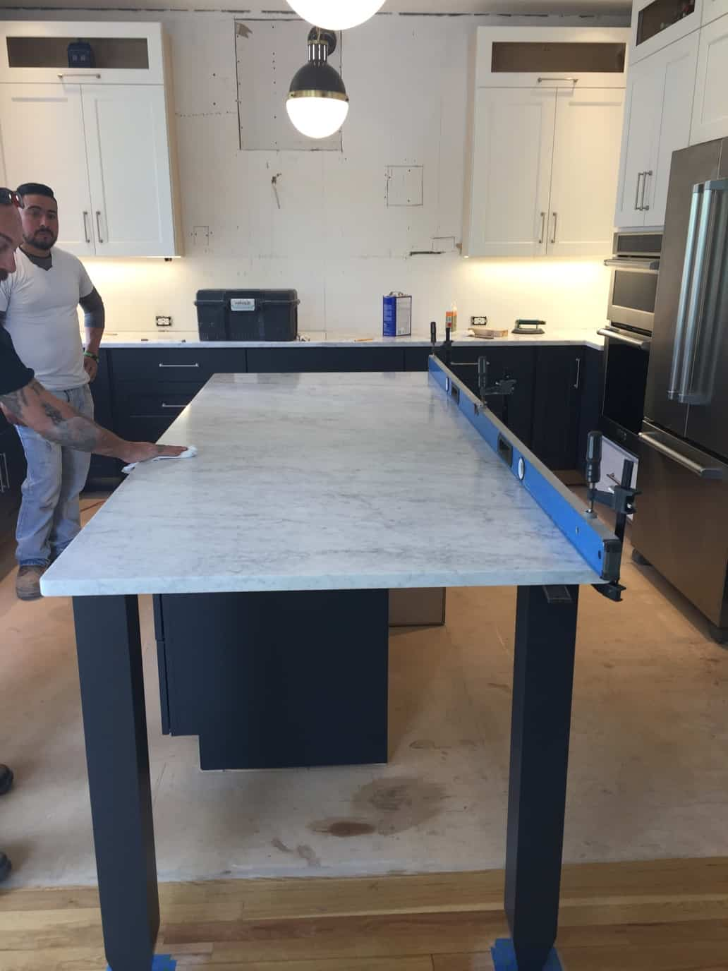 Marble counter installation