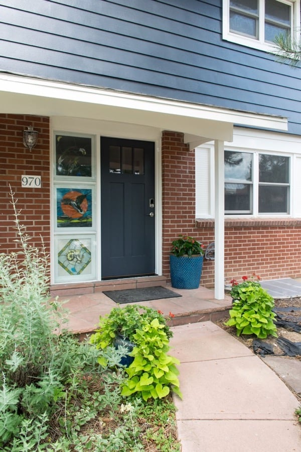 Best exterior paint colors red brick homes, Front door and Siding SW Cyberspace, Trim SW Westhighland white