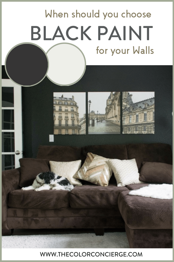 A den with walls painted black using BM Onyx paint color and prints of Paris with a black and white dog and brown couch.