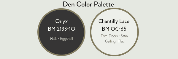 Den Color palette with BM Onyx and BM Chantilly Lace