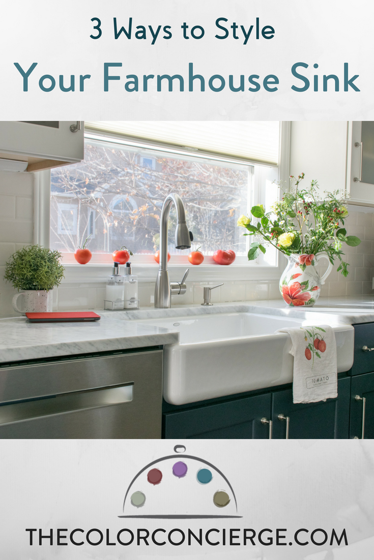3 Ways to Style Your Farmhouse Sink for a kitchen remodel. Farmhouse sink with tomatoes on a ledge.