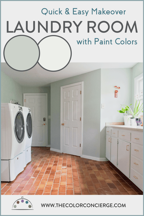 Laundry room makeover was quick and easy with SW Sea Salt and SW Extra White Paint colors