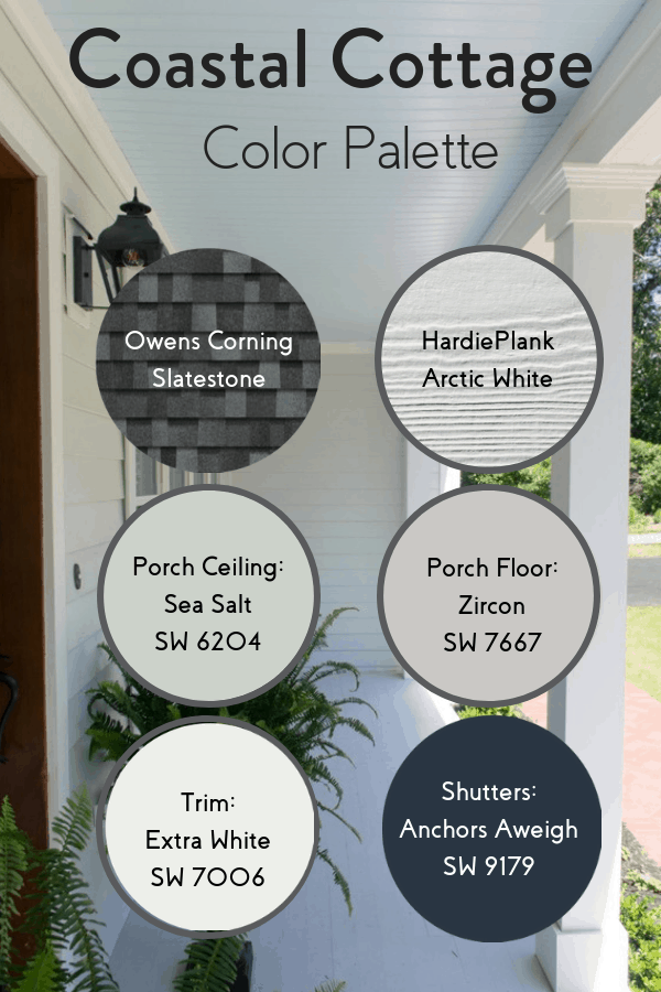 Coastal cottage exterior color palette with roof, siding, porch ceiling and floor, trim and shutter colors.