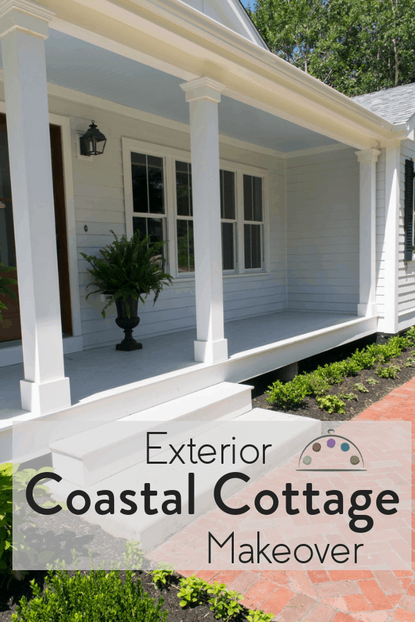 Coastal cottage exterior makeover with haint blue front porch.