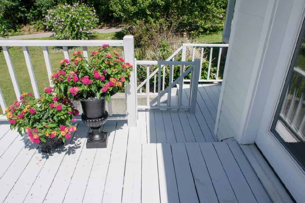 Coastal Cottage back deck with deck painted SW Zircon, railings painted SW Extra white and bright red geraniums.