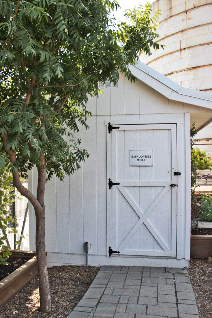 White toolshed for employees only near Magnolia Seed and Market with green tree in Waco, TX.