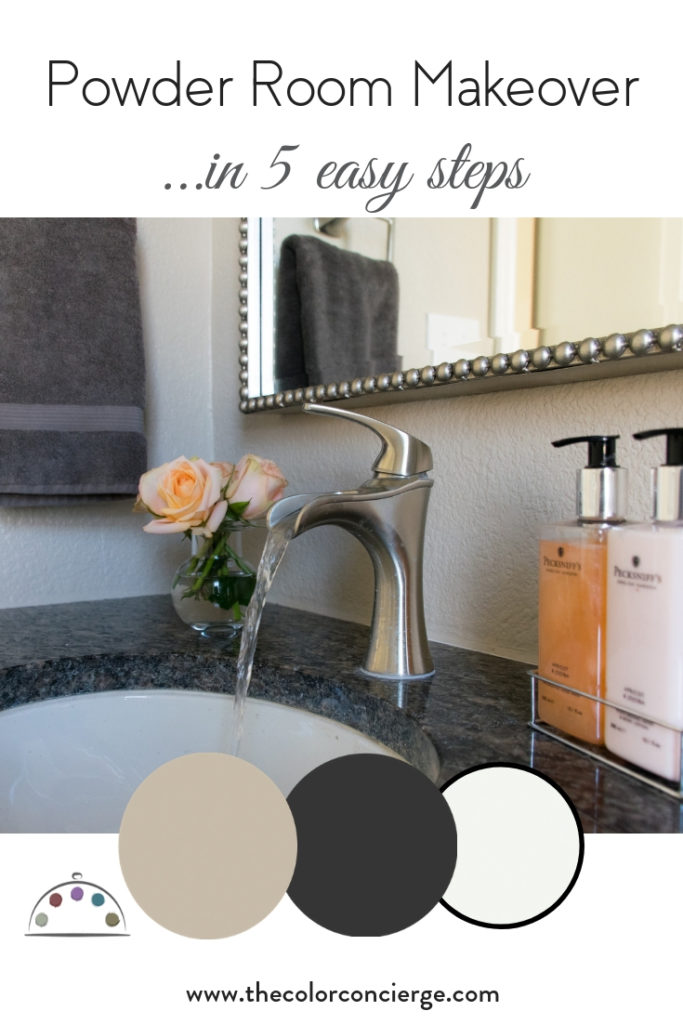 Powder room makeover on a budget in 5 easy steps.