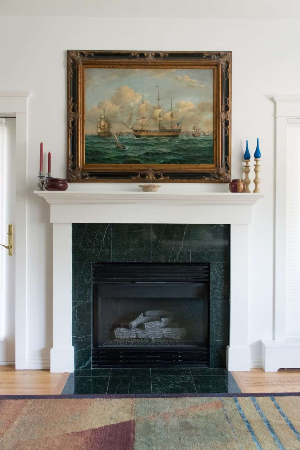 Painting over classic fireplace with white mantel
