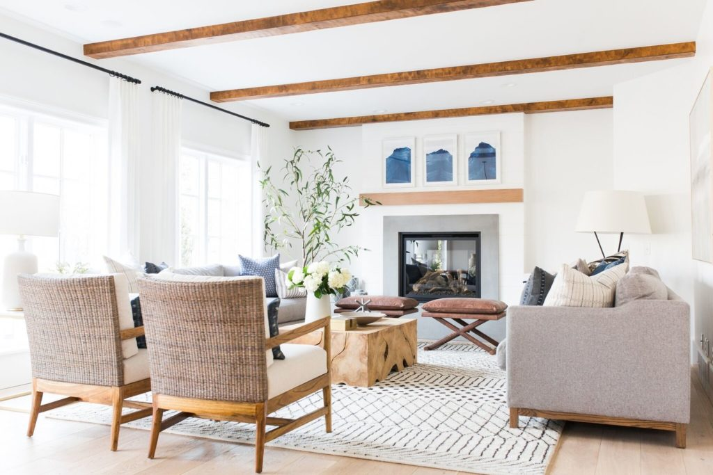 Studio McGee living room with white area rug
