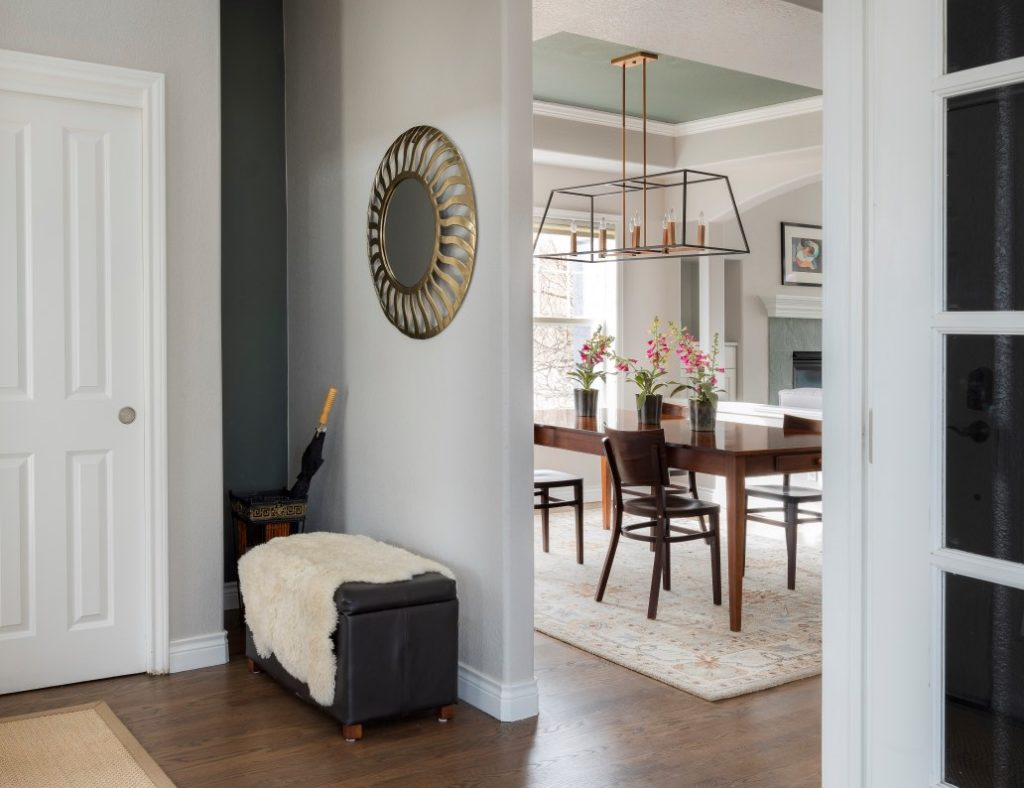 Entry and dining room with stonington gray walls and Millstone Gray Accents