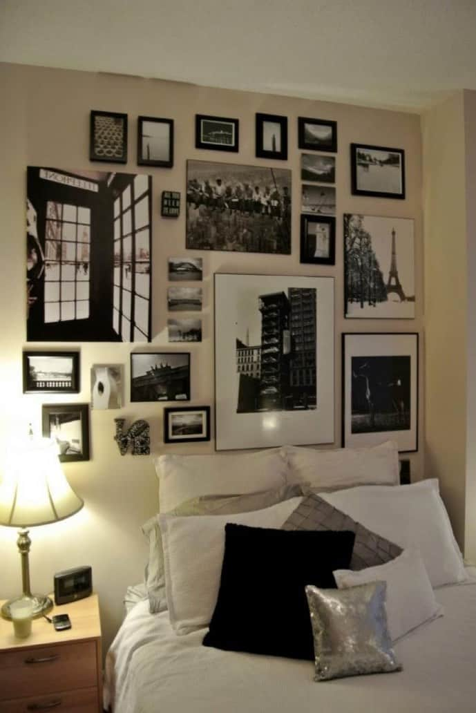 Bed with a gallery wall