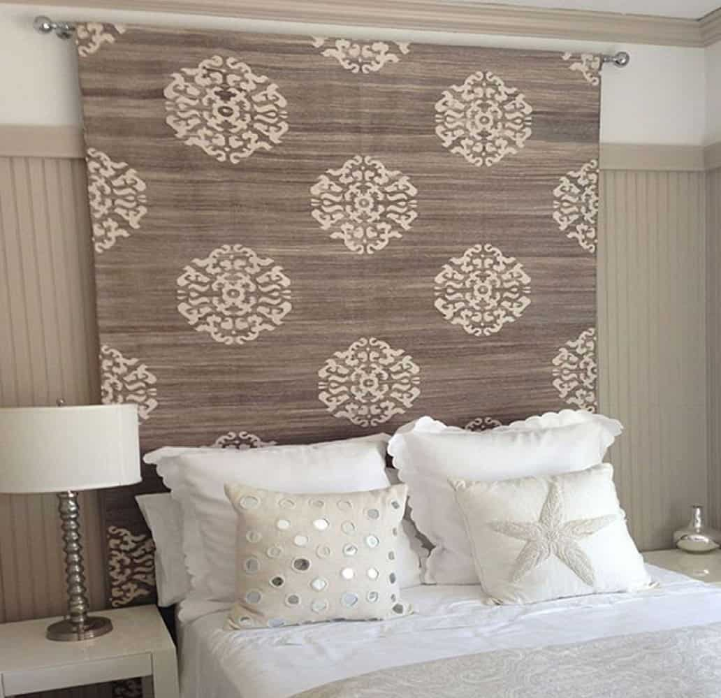 Bed with wall hanging for headboard