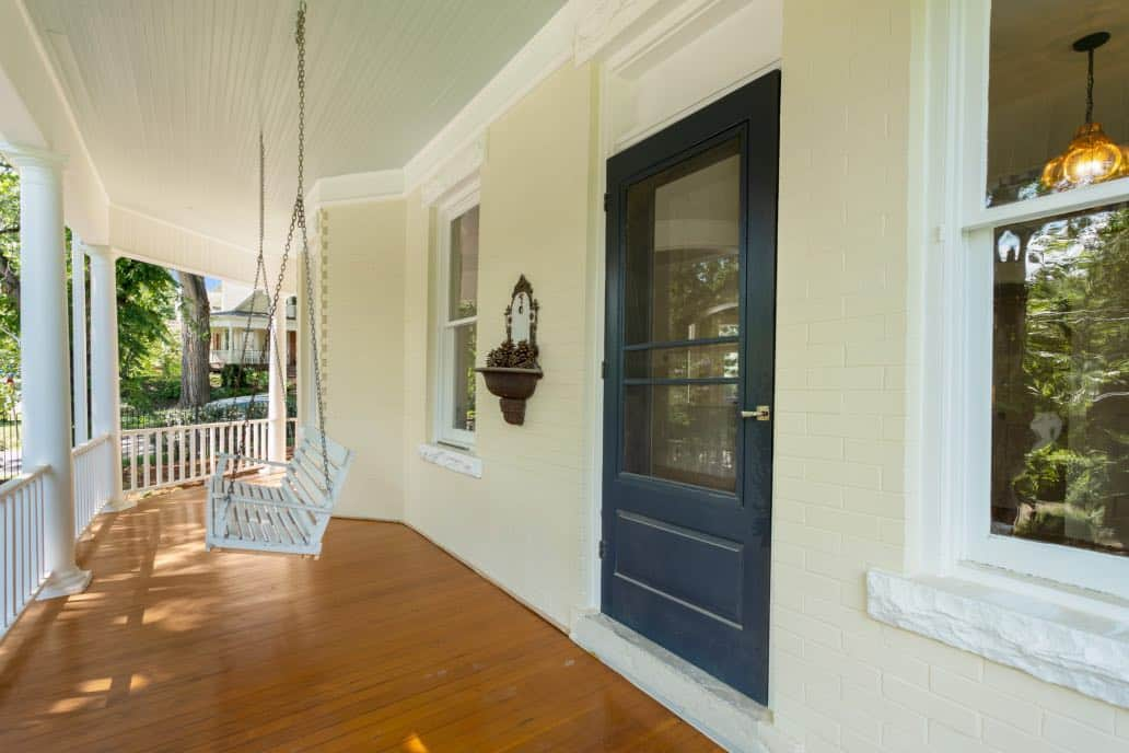 Front porch with haint blue ceiling