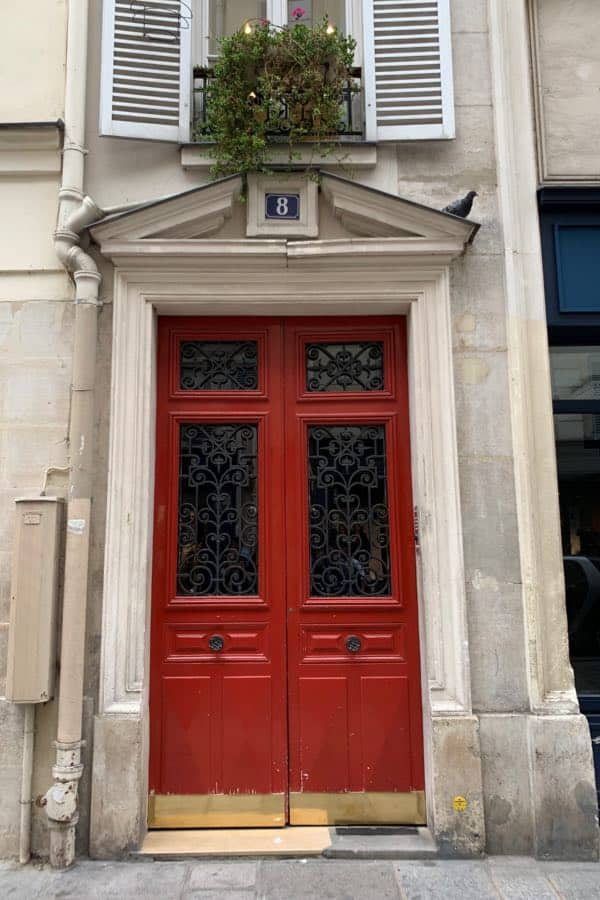 Red front door painted with Benjamin Moore Million Dollar Red 2003-10
