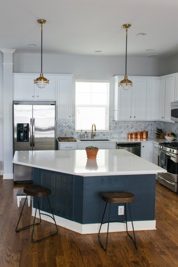Sherwin Williams 2020 color of the year Naval SW6244 shown in kitchen island