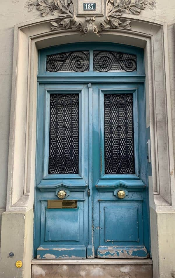 Blue front door painted with Niagara Falls