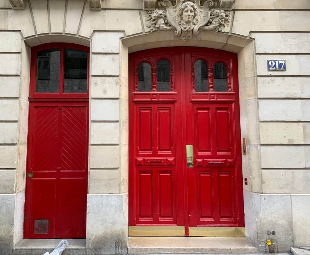 Red front doors painted Benjamin Moore ruby red and rapture