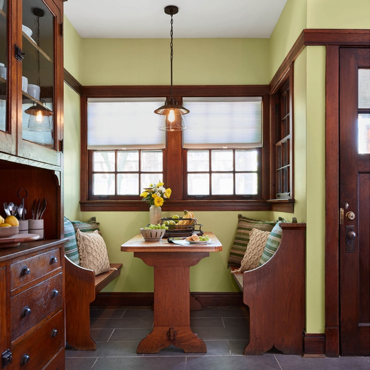 Kitchen Nook painted with Valspar 2020 Palette of the Year color Tempered Sage