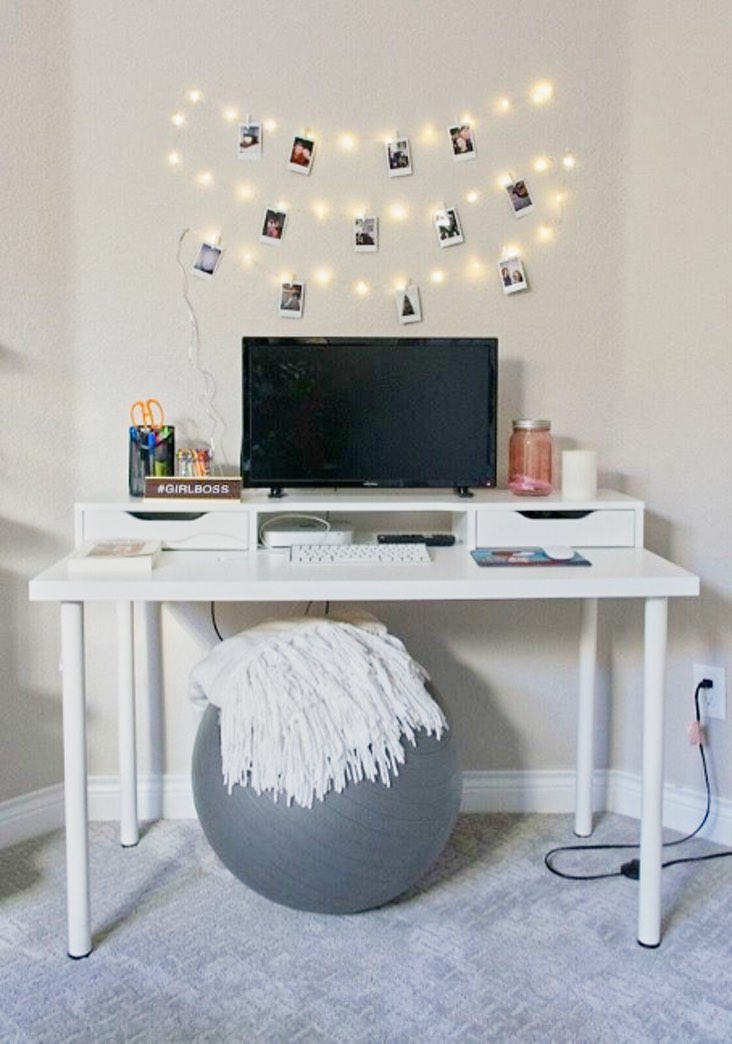 Teenager Bedroom Office with white desk painted with Benjamin Moore Abalone