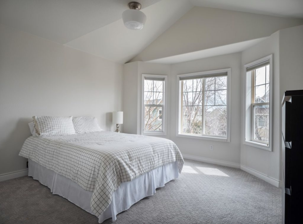 Bedroom walls and ceilings painted with Classic Gray