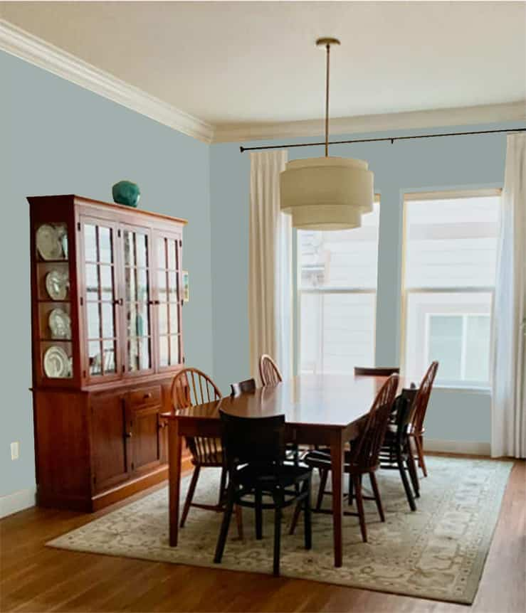 Dining room painted with Eventide SW 9643 from Emerald Designer Edition