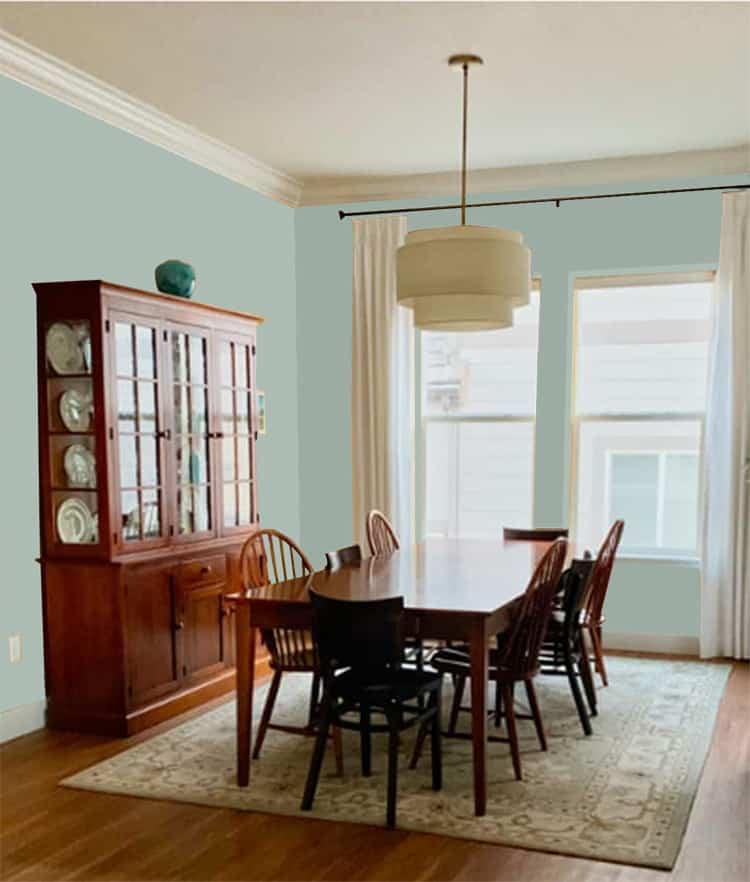 Dining room painted with Fresh Eucalyptus SW 9658 from Emerald Designer Edition