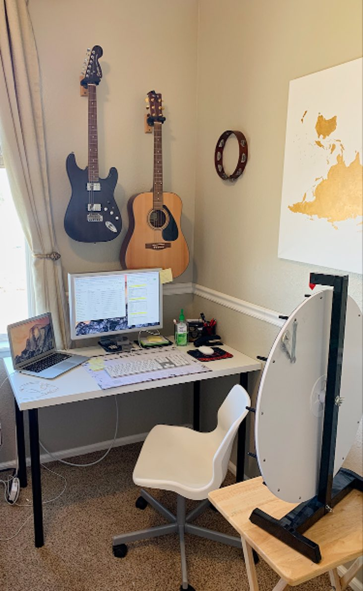 Home office with Benjamin Moore Manchester Tan