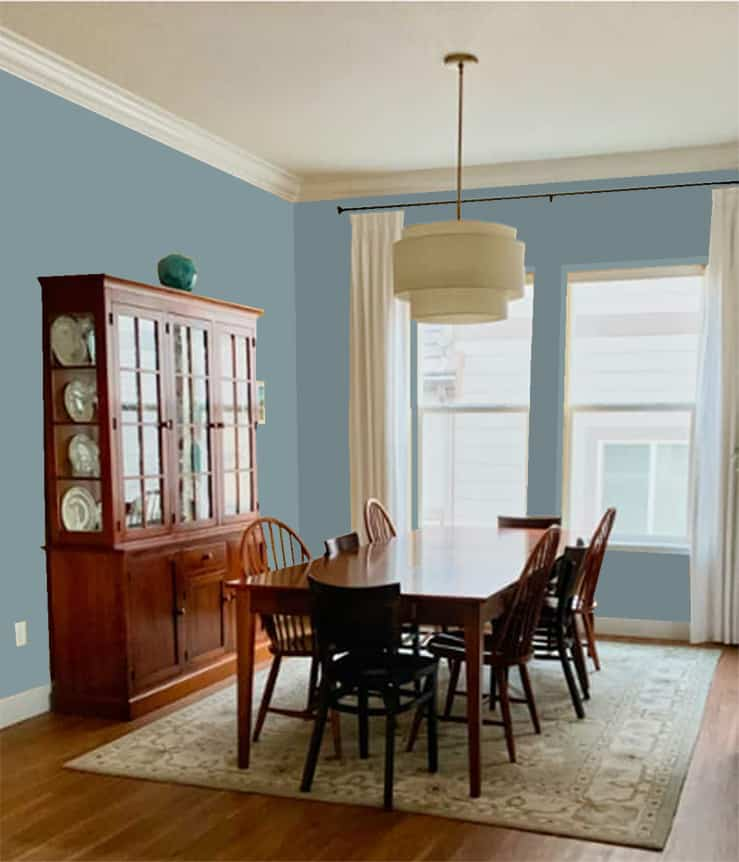 Dining room painted with Morning At Sea SW 9634 Emerald Designer Edition