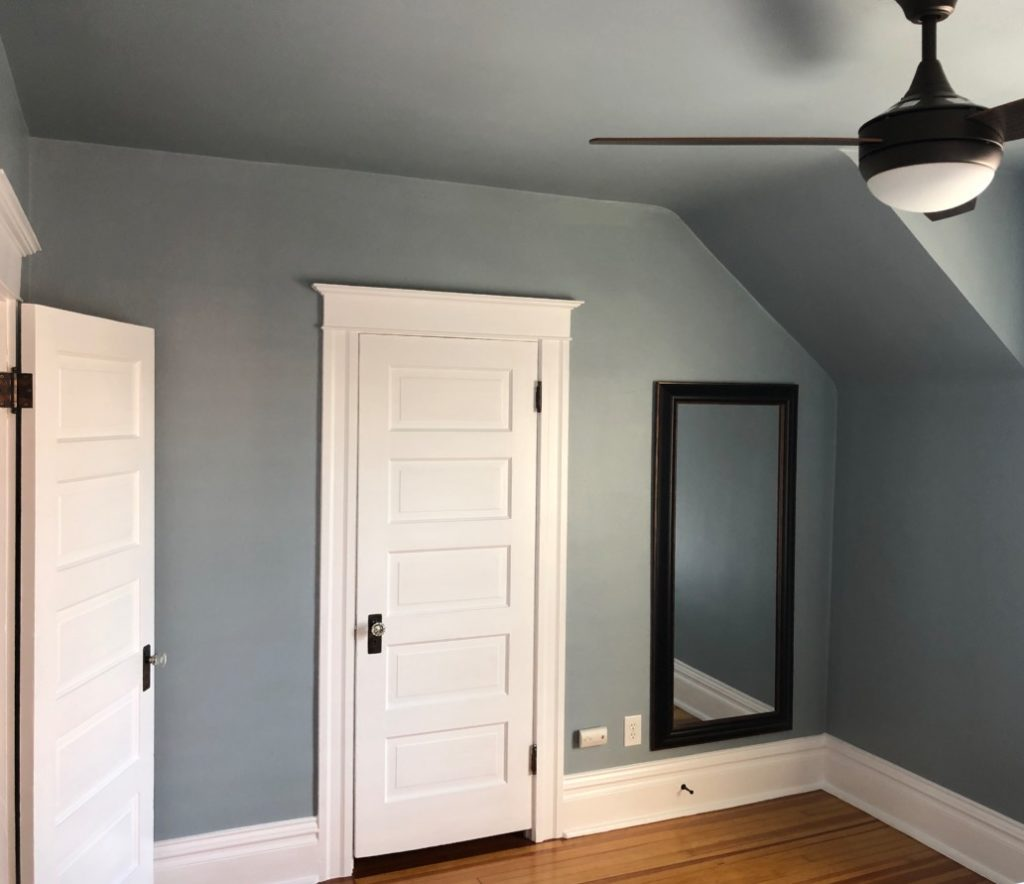Bedroom walls and ceilings painted with Benjamin Moore Nimbus Gray.