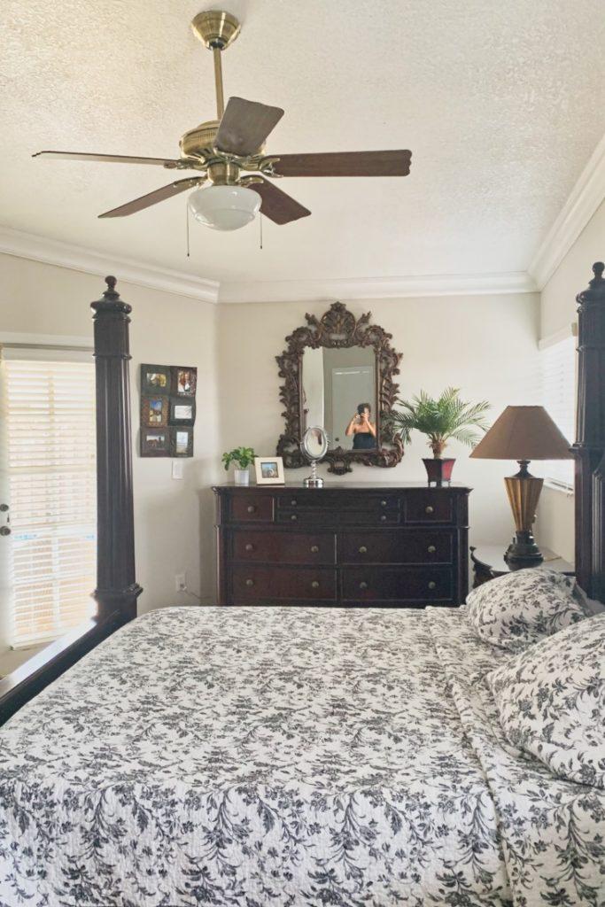 Master bedroom painted with Benjamin Moore Pale Oak