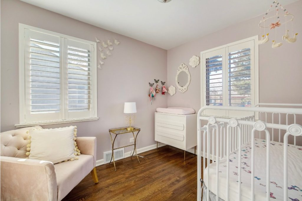 Girl's nursery with Portland Gray Walls.