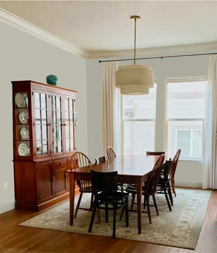 Dining Room with Sherwin-Williams Soft Sage SW 9647, an Emerald Designer Edition paint color