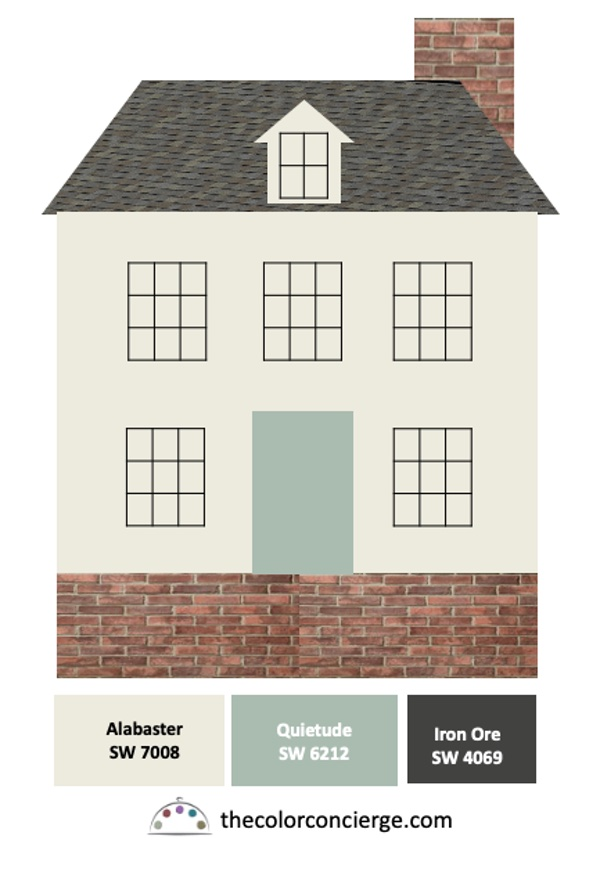 Red brick house with white paint black windows and dark gray roof