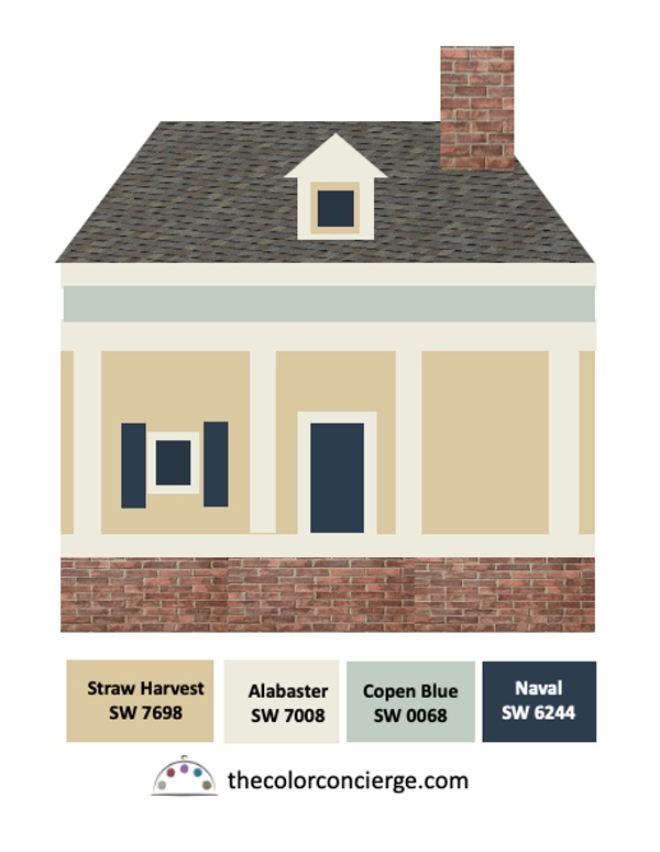 Red brick house with yellow walls, gray roof, white trim and blue ceiling