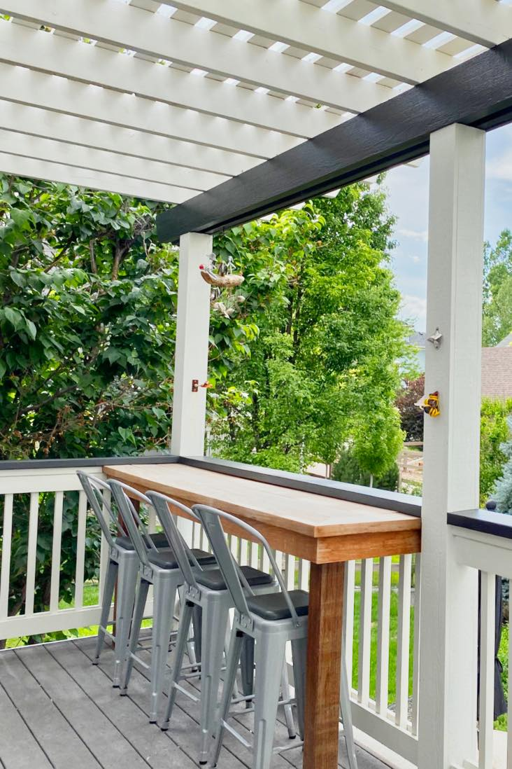White back porch wood breakfast bar