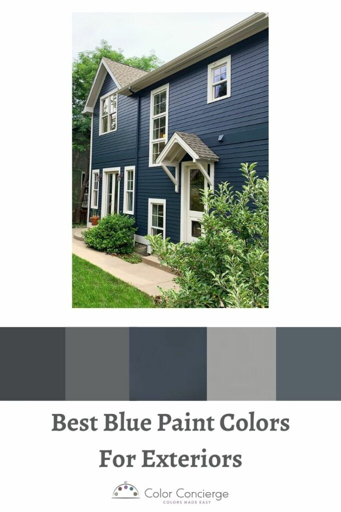 Blue house with BM Hale Navy siding and BM Pale oak door and trim