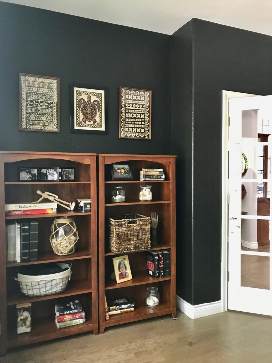 Office with Benjamin Moore Onyx paint color and review