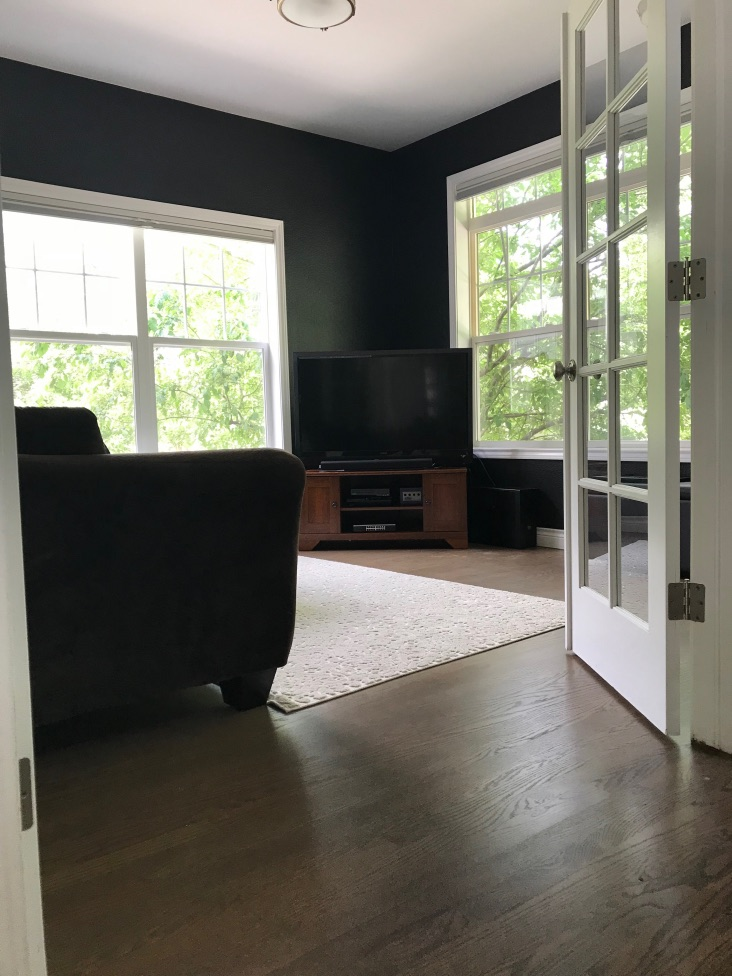 TV room with Benjamin Moore Onyx paint color and review