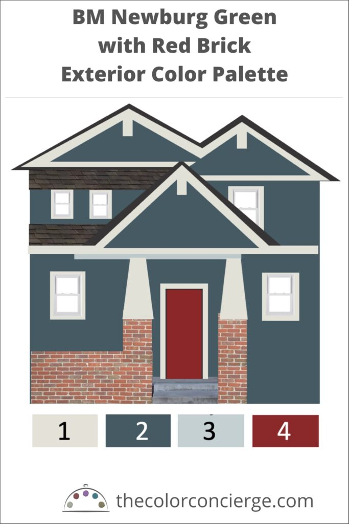 BM Newburg Green with Red Brick Exterior Color Palette