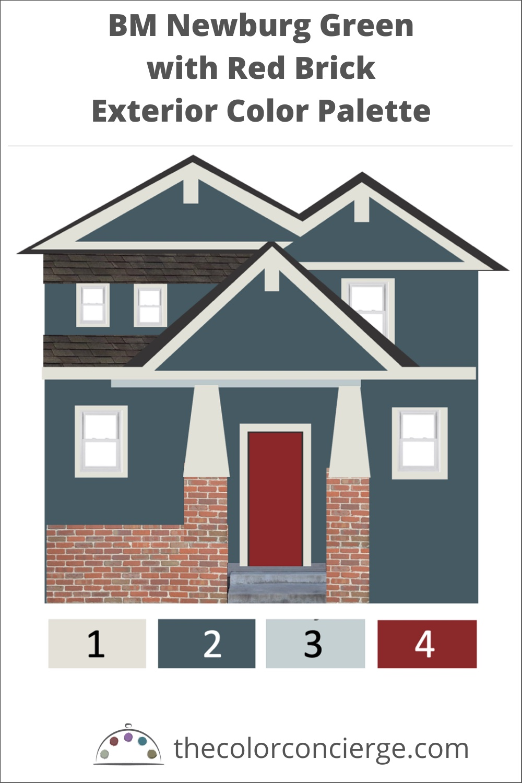 BM Newburg Green with Red Brick Exterior Color Palette