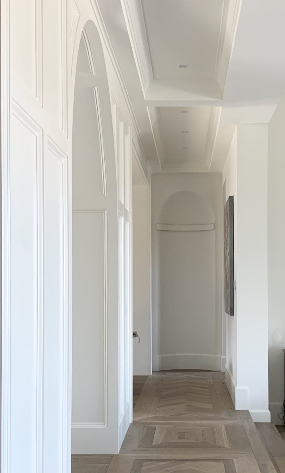 Hallway painted with Cloud White