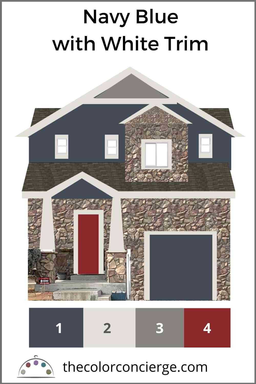 Hale Navy exterior with classic gray trim and red front door