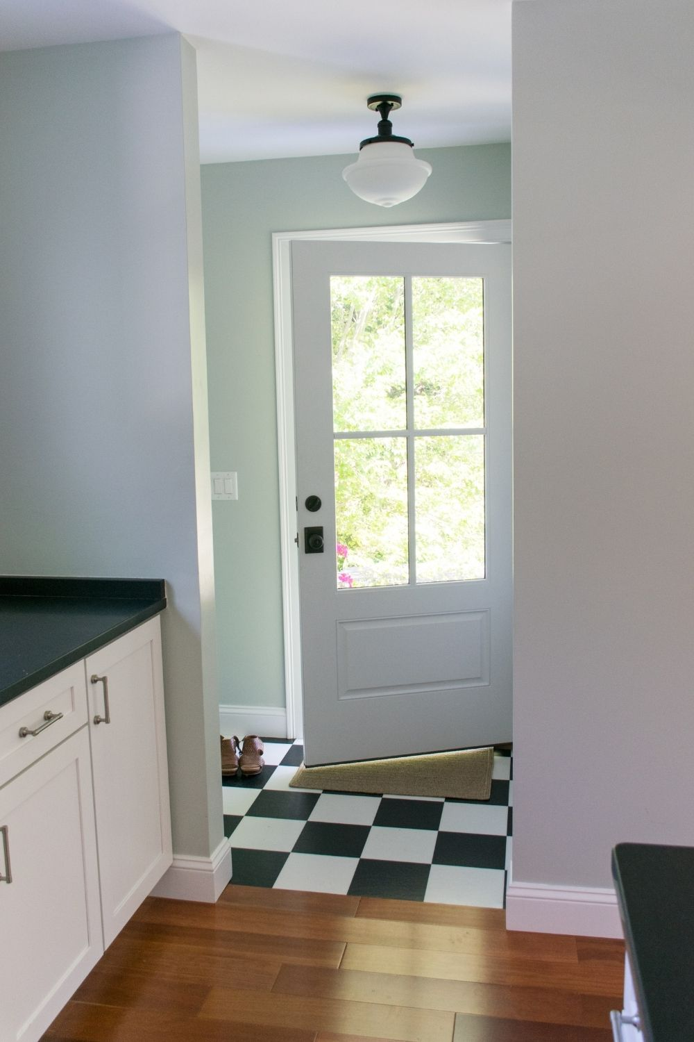 Mud room with SW Sea Salt walls and SW Extra White trim and ceilings