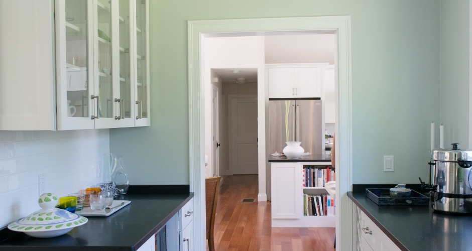 Butler's pantry with SW Sea Salt walls and SW Extra White trim and ceiling