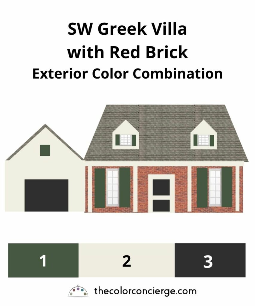 Greek Villa with Red Brick Paint Color Combo